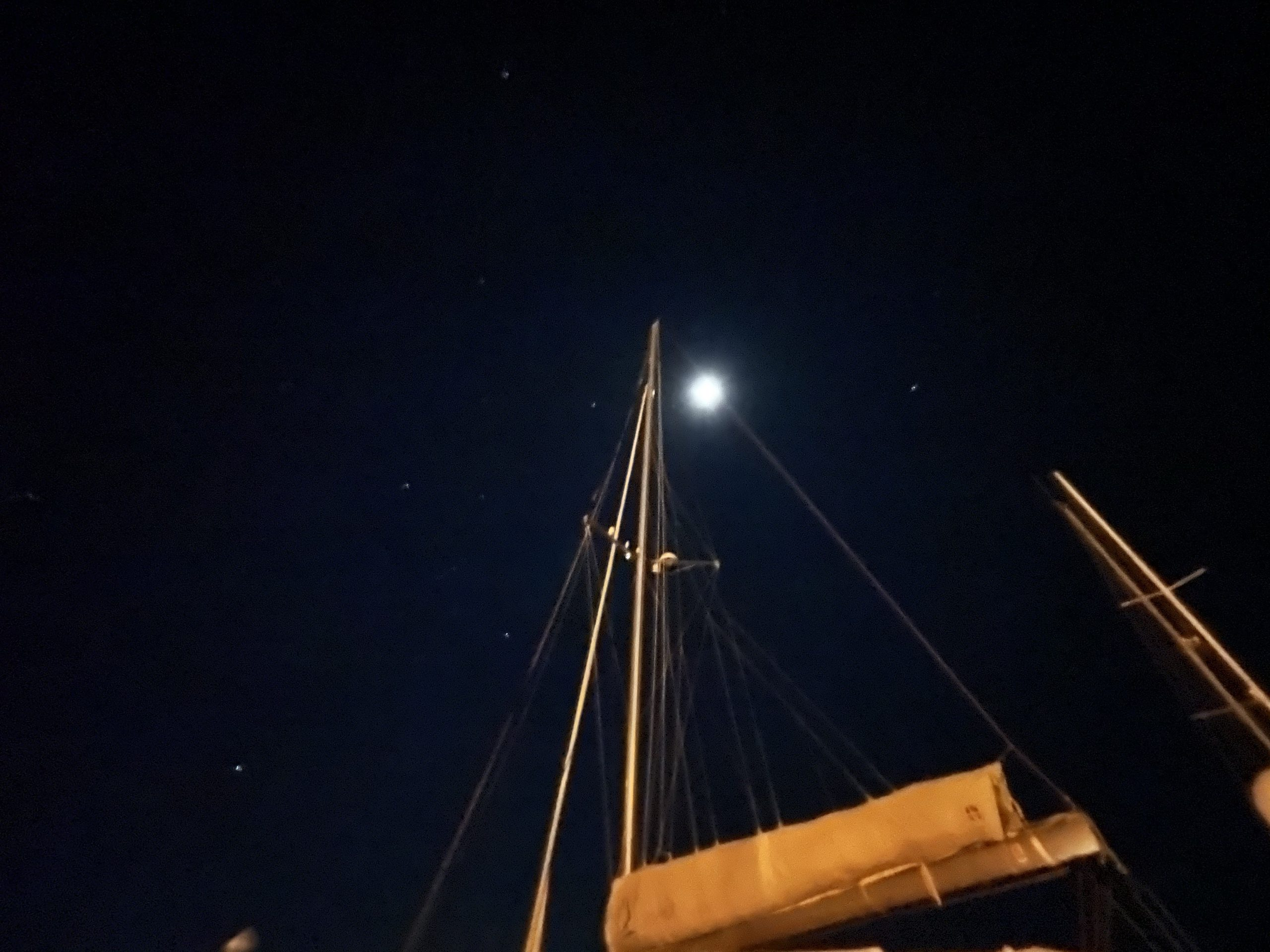 Night Sky Shot Along The Mast