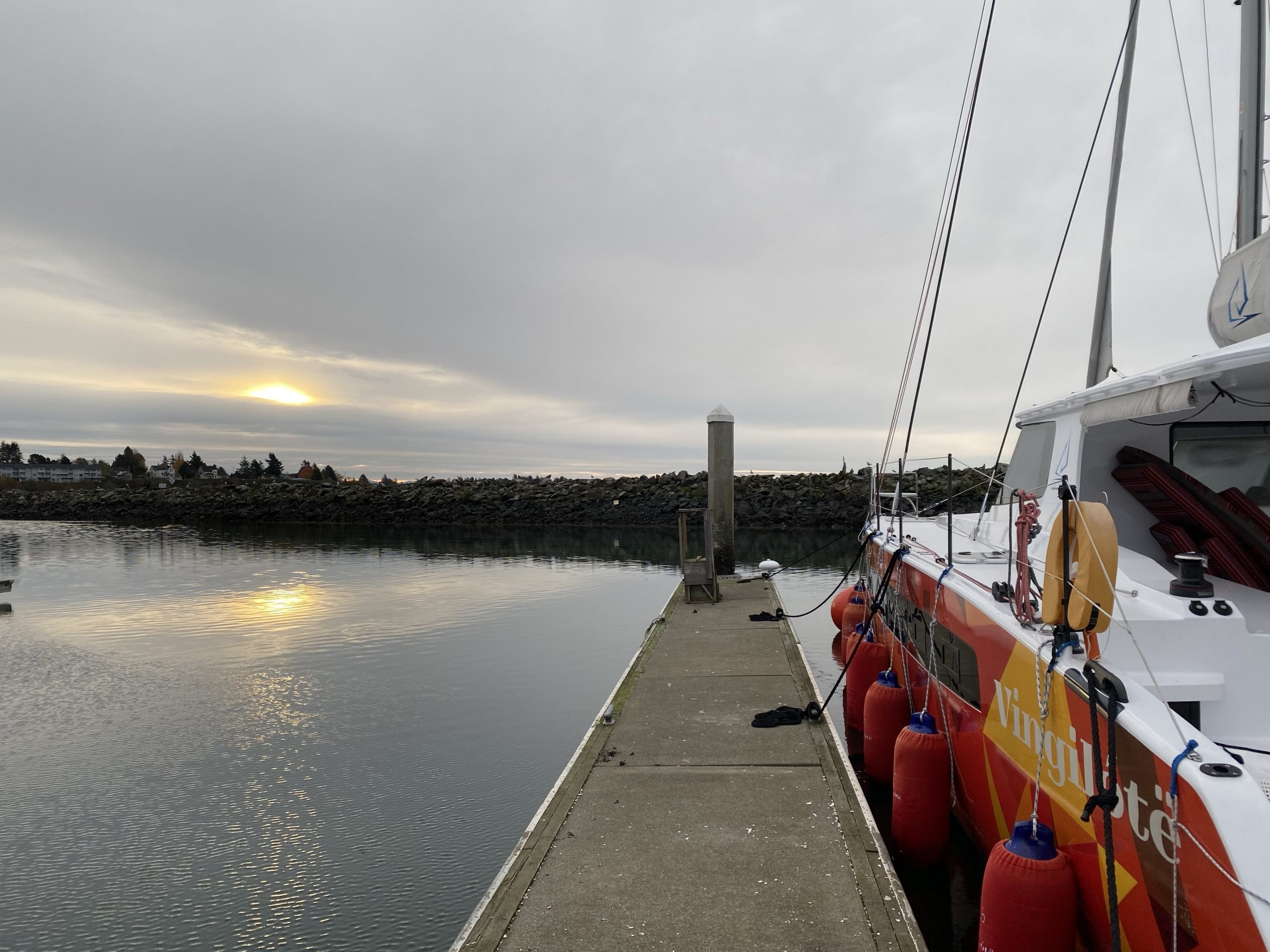 A Dreary Sunrise on Our Last Day Onboard