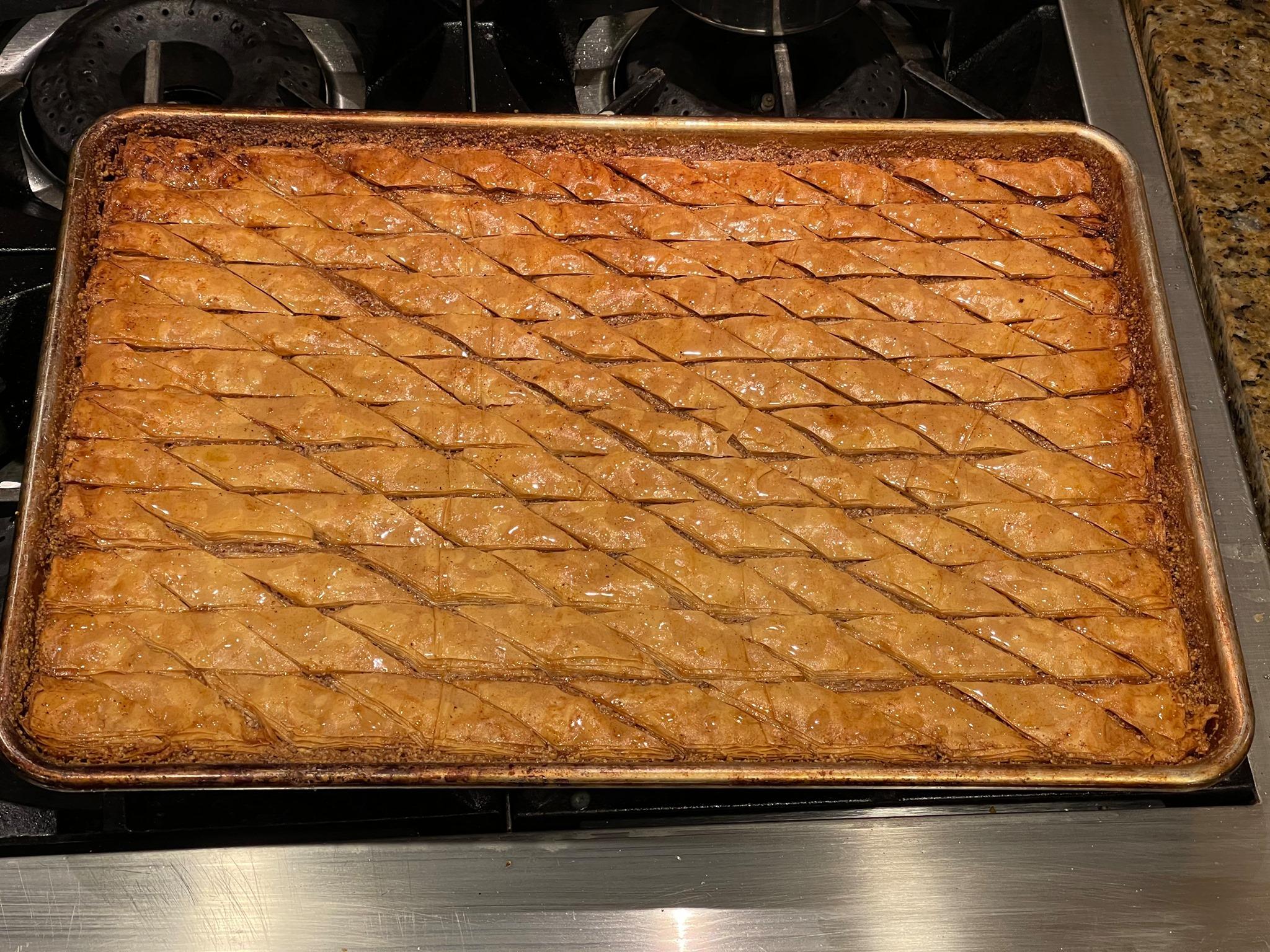 Homemade baklava. 20 layers of phyllo dough…