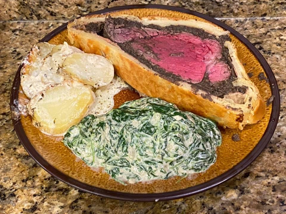 Beef Wellington, Potatoes Hasselbeck au Gratin…
