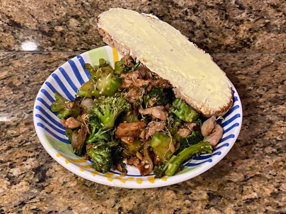 Thursday dinner. Irene Voskamp made chicken and broccoli stir fry