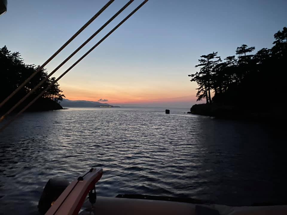 Anchored for the night in a little cove between two islands in the Sa