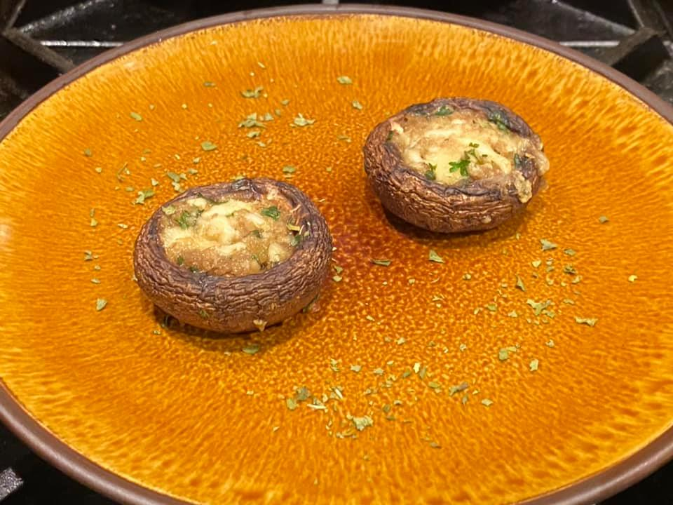 Today's brunch: starter of garlic stuffed…