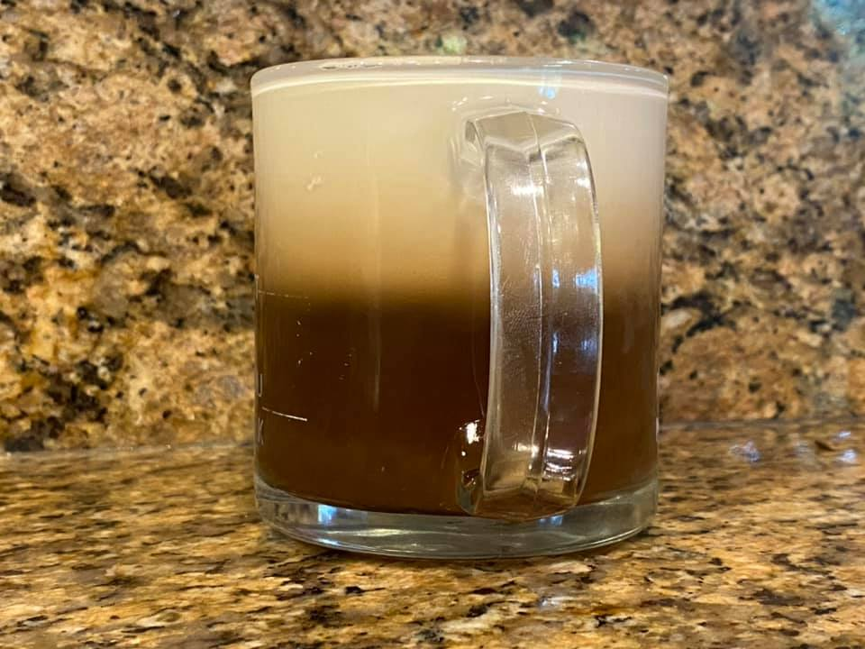 Irish coffees. In the first photo the cream seems to spread out more…