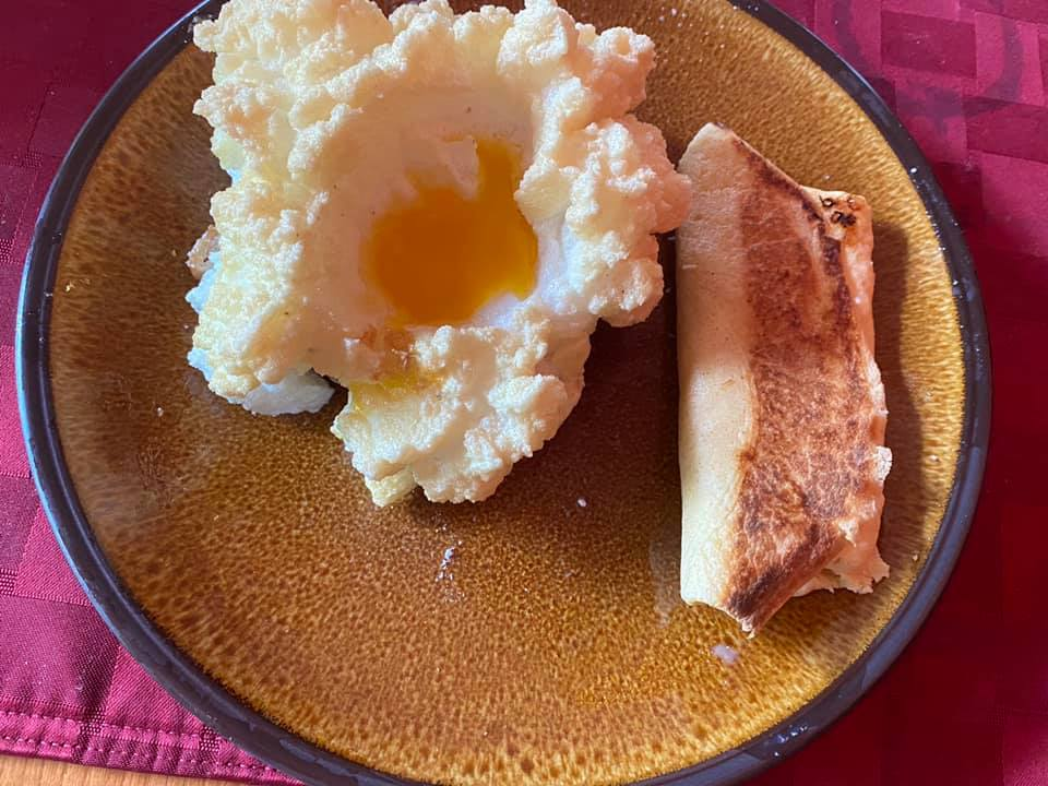 Irene made egg crowns on toasts of the sourdough bread I mad