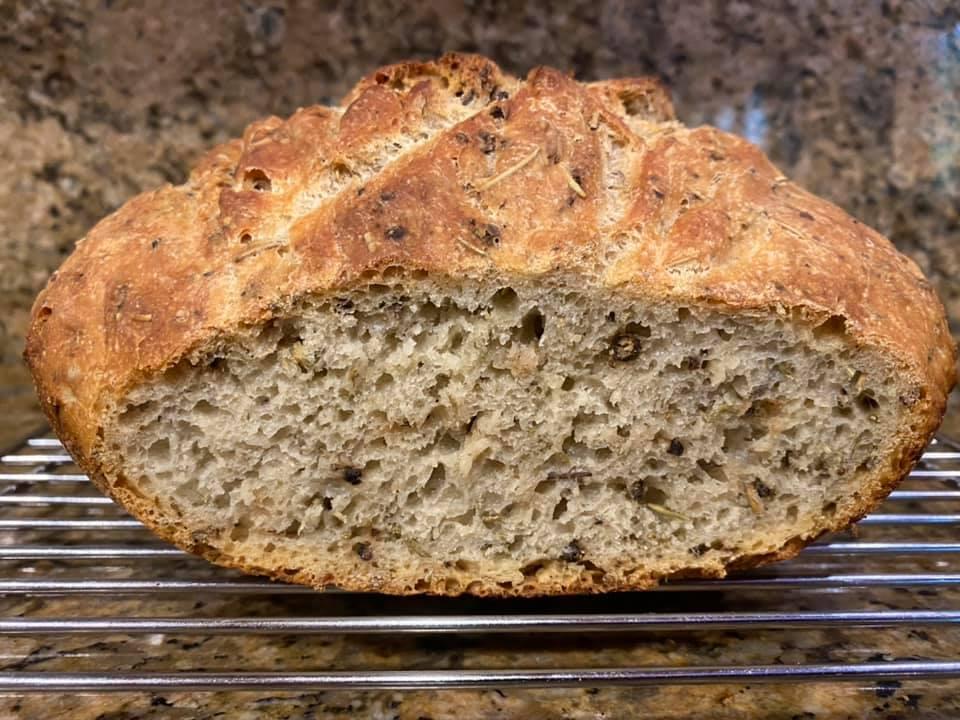 No-knead bread with rosemary…
