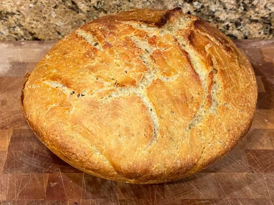 Rosemary garlic no-knead bread