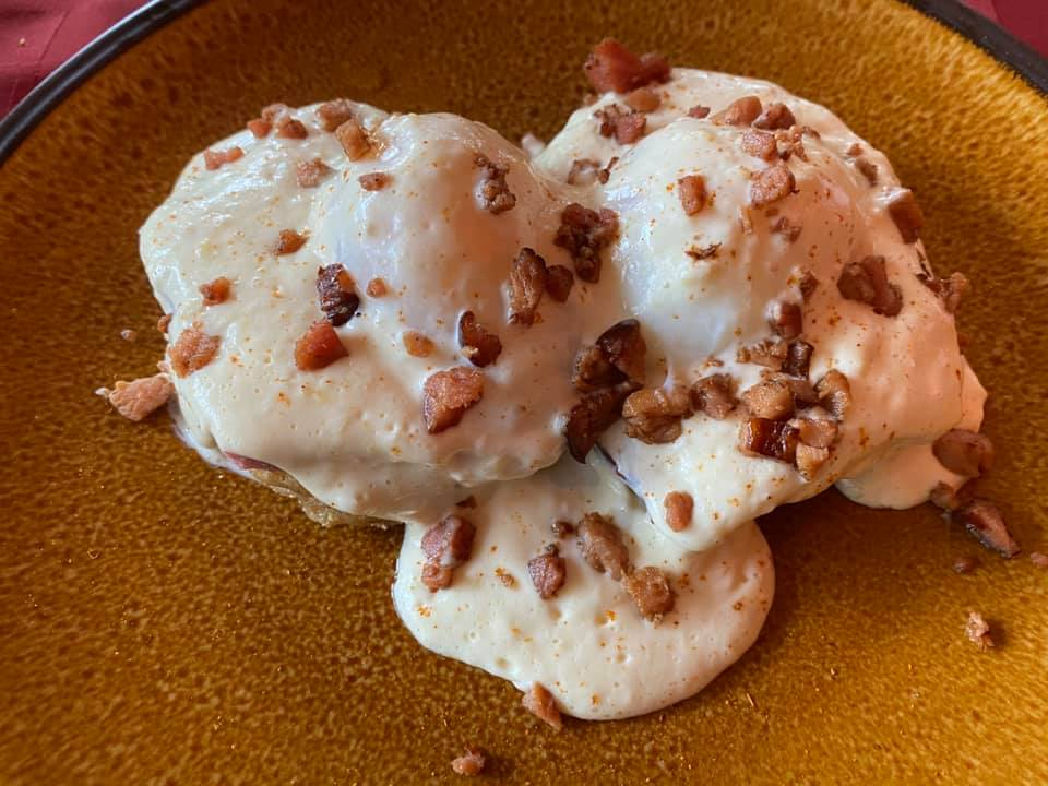 Today's Eggs Benedict Scratch-made English muffins…