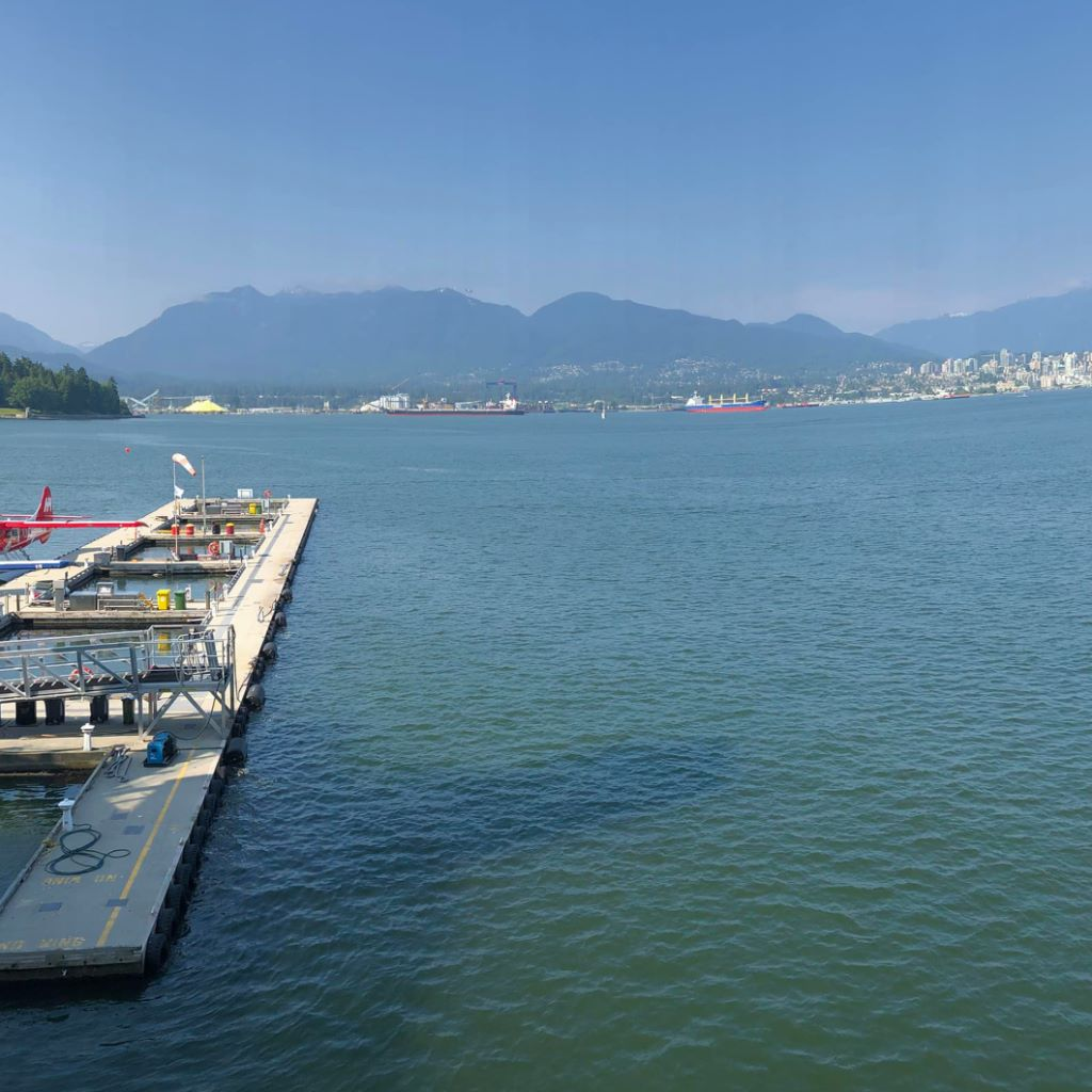 Sitting in the sun at Coal Harbour in Vancouver B.C