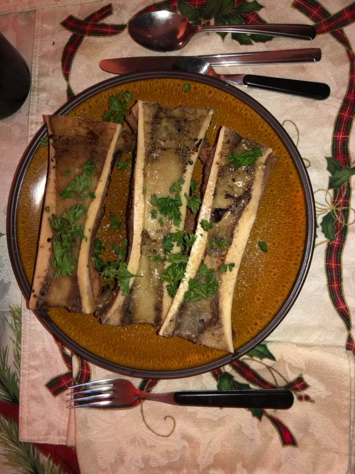 Marrowbone starter for Irene's birthday dinner after the first pass o