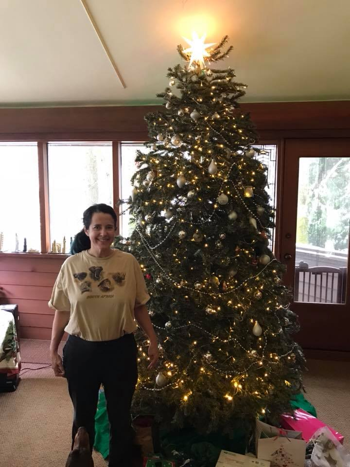 Christmas tree.  Irene (at 5′ 2 1/2″) for scale