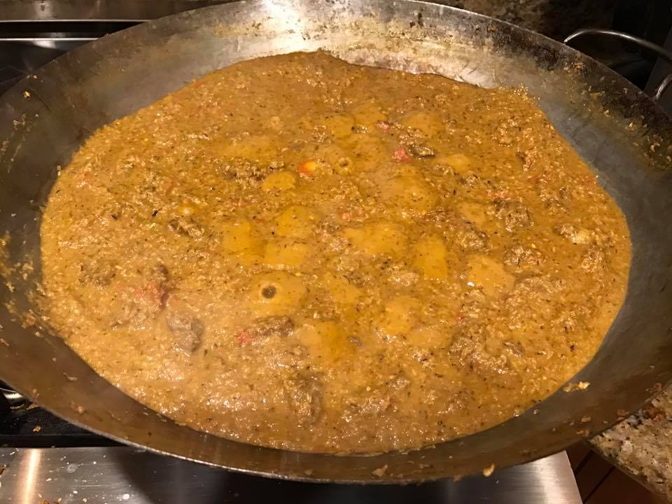 Three curries: goat…