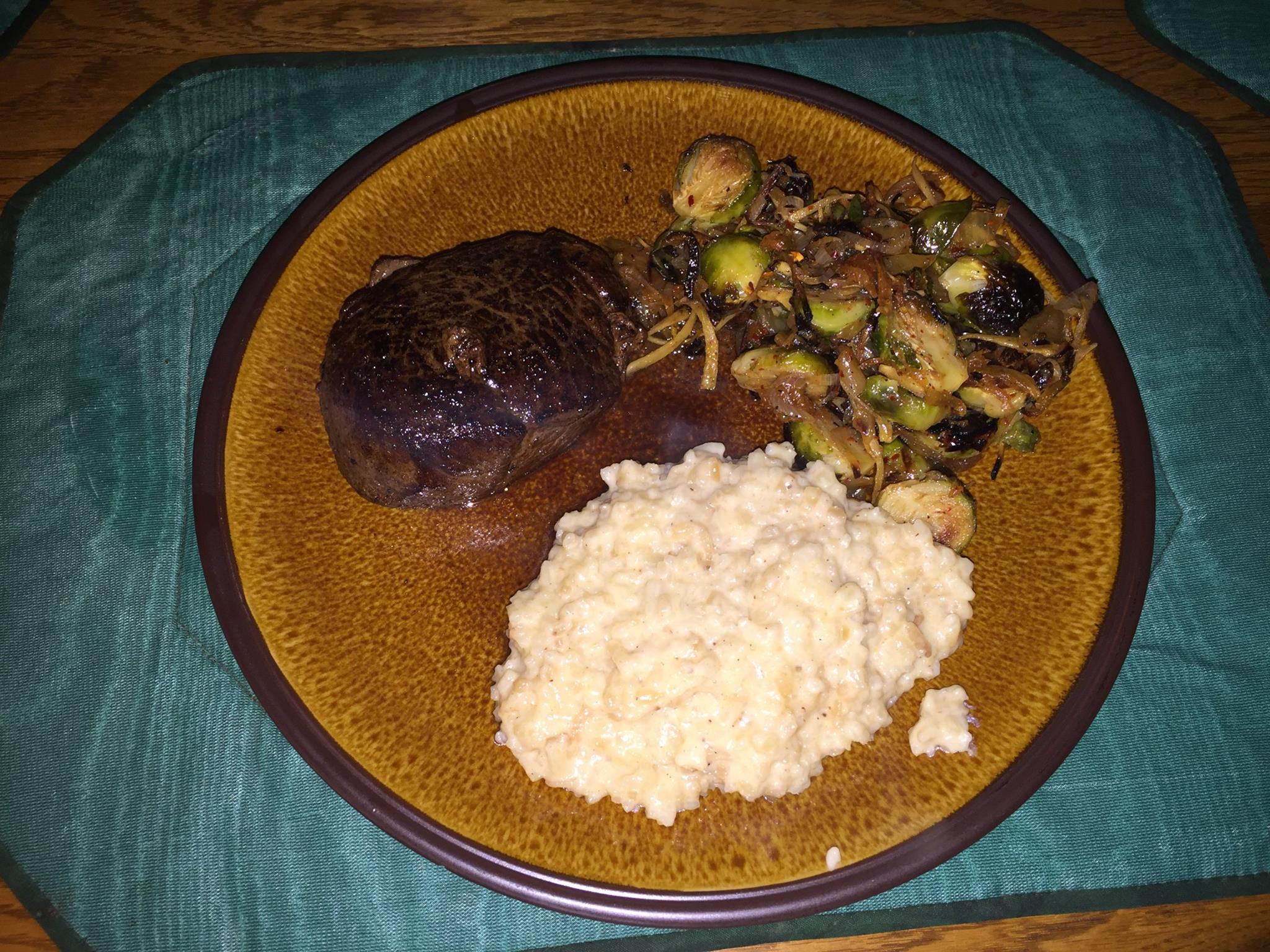 Tonight's risotto, charred brussel sprouts…