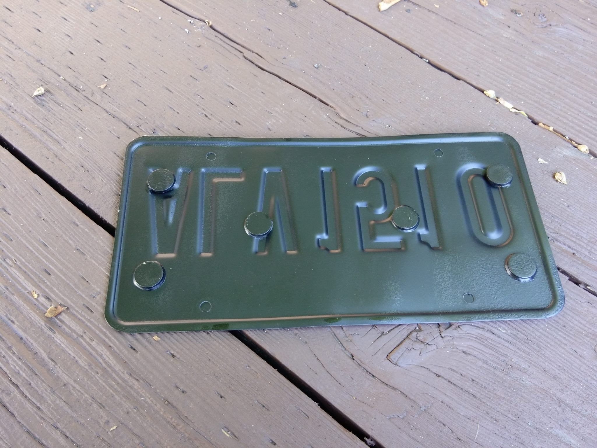 For Shawn Hammer: the back of the front license plate (and how it sit
